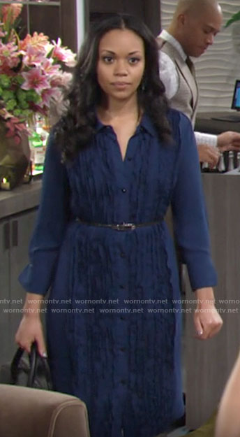 Amanda's blue ruffled front shirtdress on The Young and the Restless