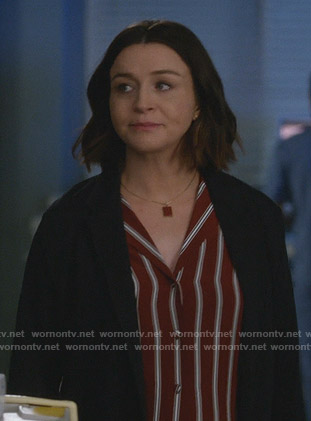 Amelia's red striped shirt on Greys Anatomy