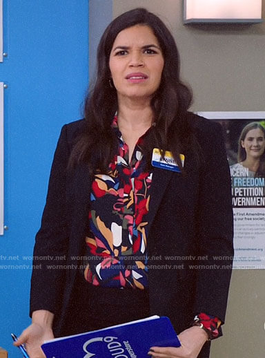 Amy's abstract floral blouse on Superstore