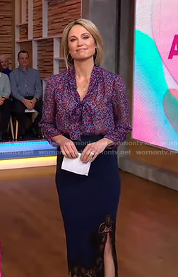 Amy's print tie neck blouse and lace-trim slit skirt on Good Morning America