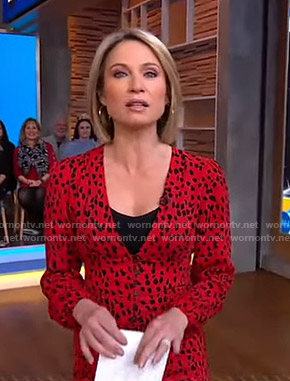 Amy's red leopard print v-neck dress on Good Morning America