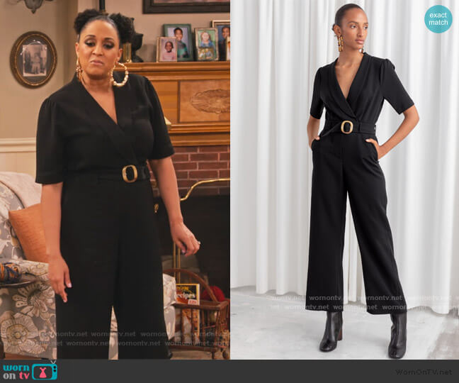 Belted Plunging Jumpsuit by & Other Stories worn by Cocoa McKellan (Tia Mowry-Hardrict) on Family Reunion