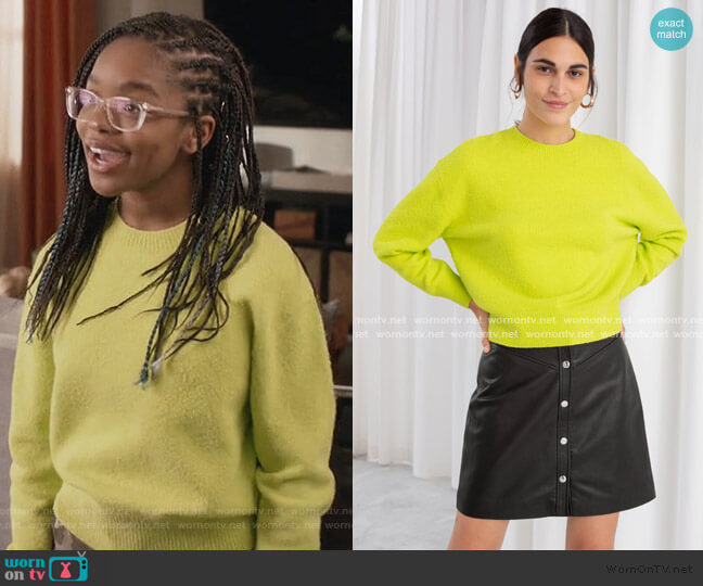 Textured Knit Relaxed Sweater by & Other Stories worn by Diane Johnson (Marsai Martin) on Blackish
