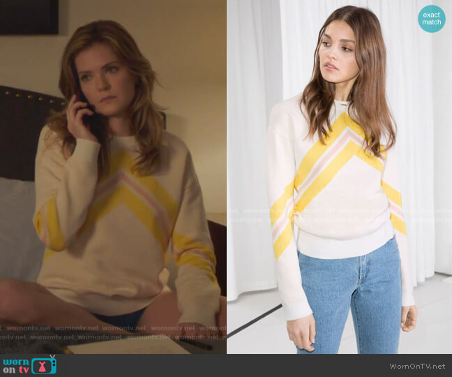 Varsity Knit Sweater by & Other Stories worn by Sutton (Meghann Fahy) on The Bold Type