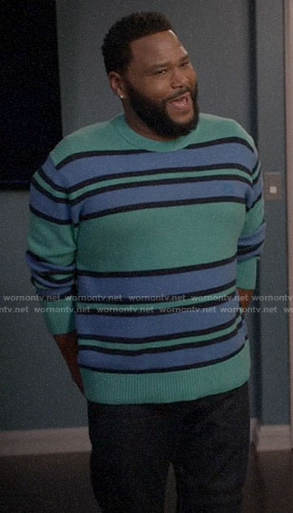 Andre's green and blue striped sweater on Black-ish