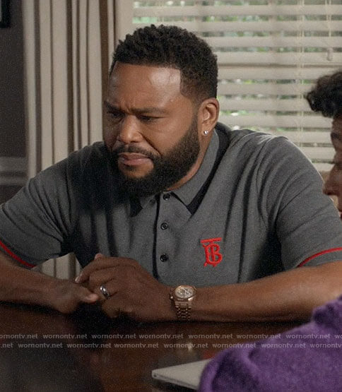 Andre's grey and red Burberry logo polo shirt on Black-ish