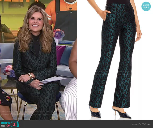 Cindy Emerald Leopard Jacquard Flared Pants by Anine Bing worn by Maria Shriver  on Today