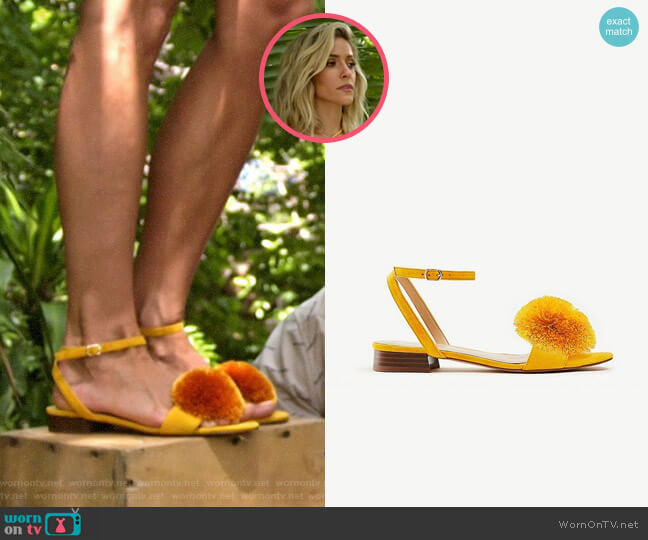 Ann Taylor Rosalie Pom Pom Flat Suede Sandals worn by Kristin Cavallari  on Very Cavallari
