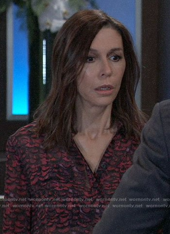 Anna's pink and black printed blouse on General Hospital