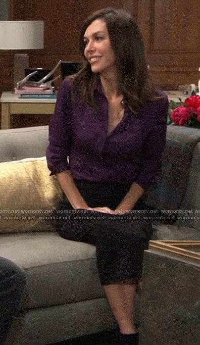 Anna's purple button down blouse on General Hospital
