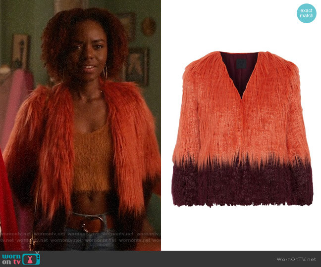 Anna Sui Papaya Two-tone Faux Fur Jacket worn by Josie McCoy (Ashleigh Murray) on Katy Keene