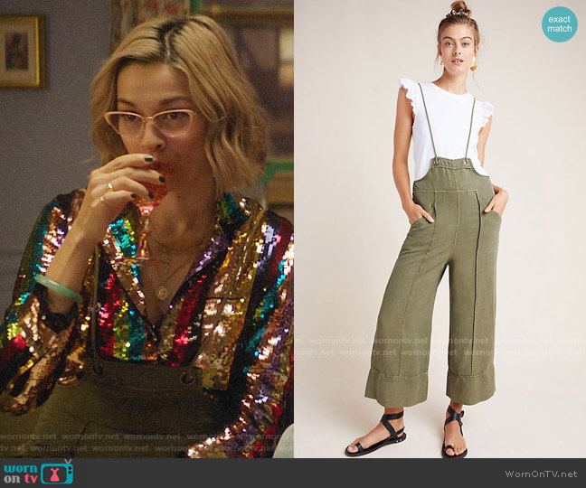 Anthropologie Asha Bib-Front Utility Overalls worn by Pepper Smith (Julia Chan) on Katy Keene