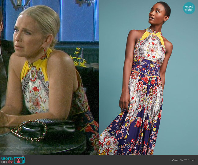 Anthropologie Maeve Myriam Maxi Dress worn by Jennifer Horton (Melissa Reeves) on Days of our Lives