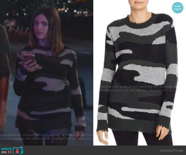 Camo Jacquard Cashmere Sweater by Aqua worn by Olive Stone (Luna Blaise) on Manifest