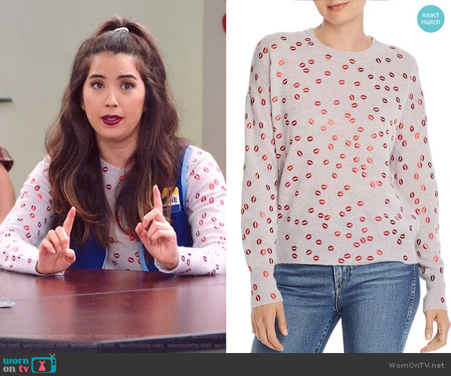 Aqua Foil Lips Print Cashmere Sweater worn by Cheyenne (Nichole Bloom) on Superstore