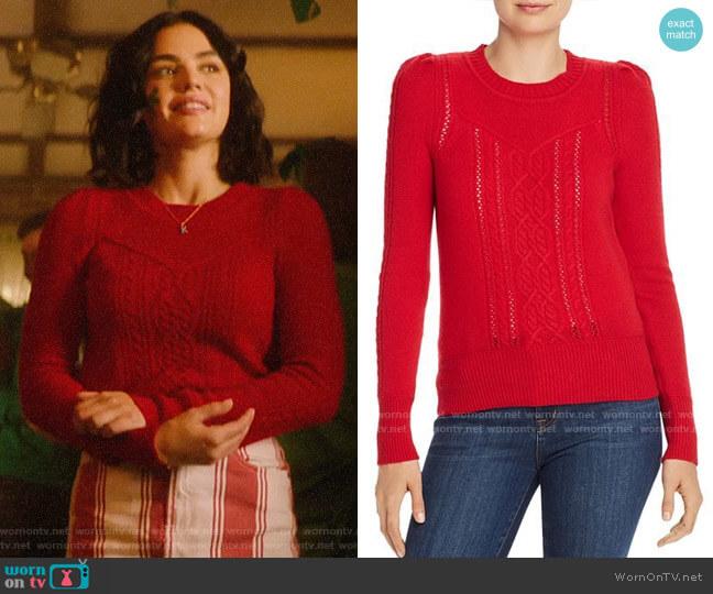 Aqua Mixed-Knit Cashmere Sweater worn by Katy Keene (Lucy Hale) on Katy Keene