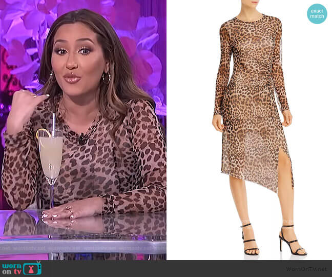 Ruched Sheer Long-Sleeve Dress by Aqua worn by Adrienne Houghton  on The Real