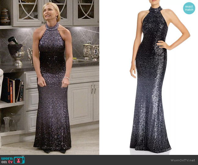 Aqua Ombré Sequined Gown worn by Jill Kendall (Jaime Pressly) on Mom