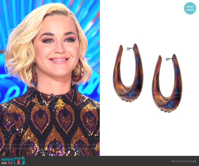 Puffed-Effect Hoop Earrings by Area worn by Katy Perry  on American Idol