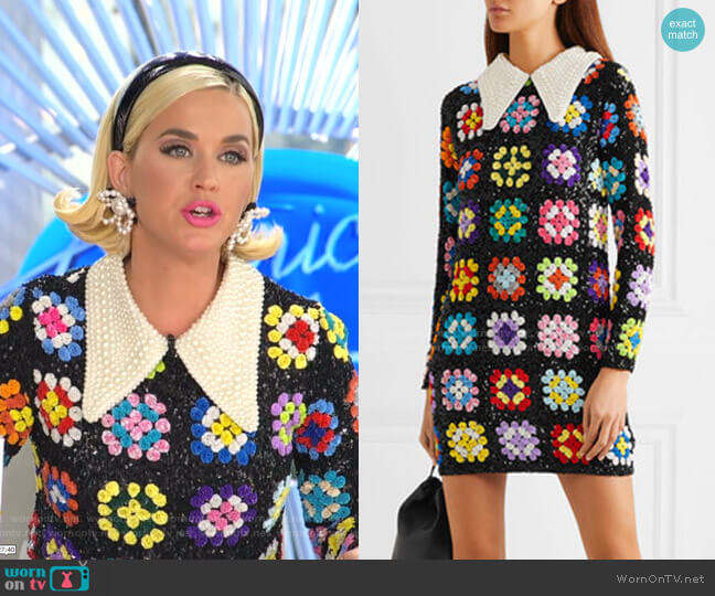 Faux Pearl-Embellished Sequined Mini Dress by Ashish worn by Katy Perry  on American Idol