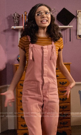 Ashley's brown striped tee and pink overalls on The Expanding Universe of Ashley Garcia