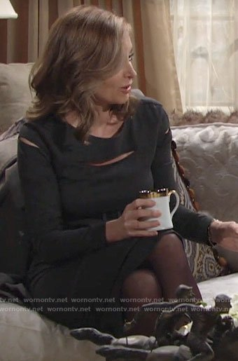 Ashley's grey long sleeve dress with cutouts on The Young and the Restless