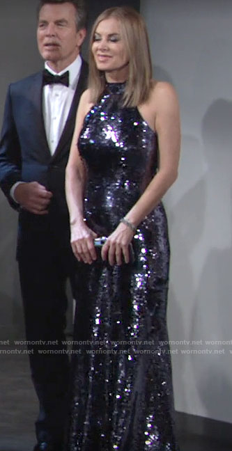 Ashley's navy sequin gown on The Young and the Restless