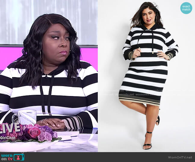Striped Hooded Sweater Dress by Ashley Stewart worn by Loni Love  on The Real