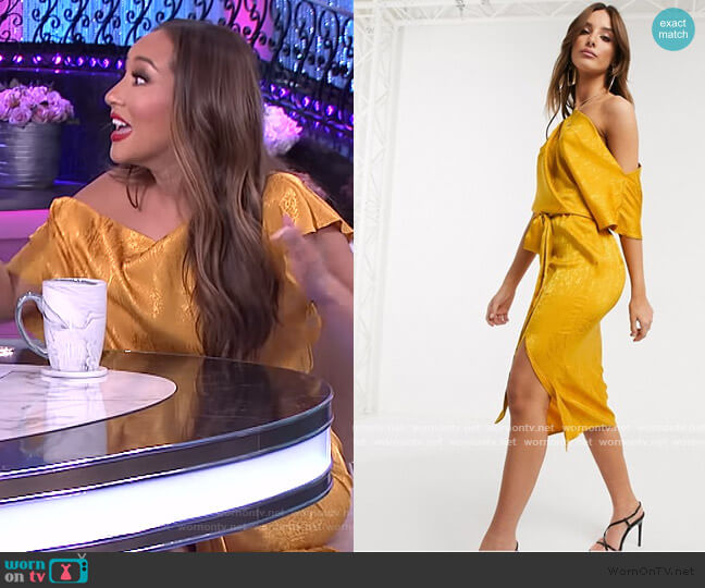 Drape Off Shoulder Midi Dress in golden yellow by Flounce London worn by Adrienne Houghton  on The Real