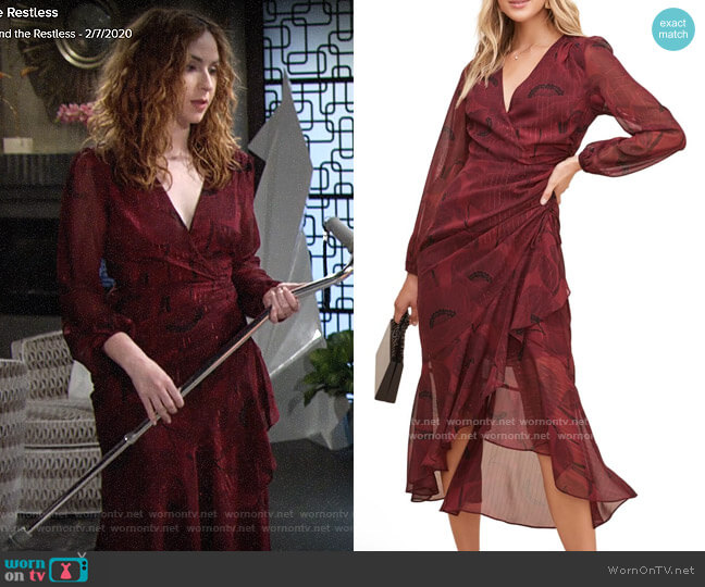 ASTR Floral Print Faux Wrap Dress worn by Mariah Copeland (Camryn Grimes) on The Young & the Restless