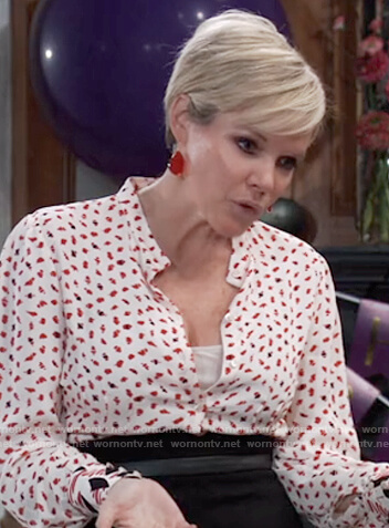Ava's mixed print blouse and black high waisted skirt on General Hospital