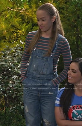 Ava's distressed denim overalls on Bunkd
