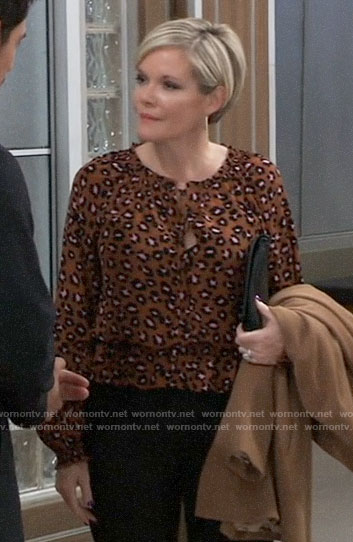 Ava's leopard print blouse on General Hospital
