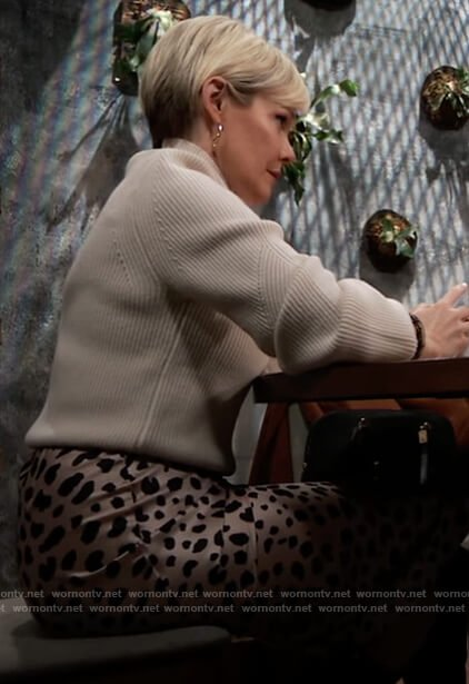 Ava's leopard print skirt and white sweater on General Hospital
