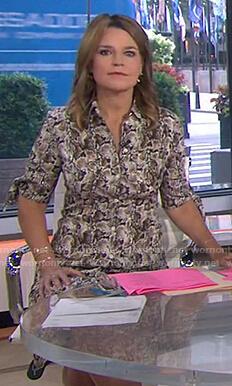 Savannah's snake print shirtdress on Today