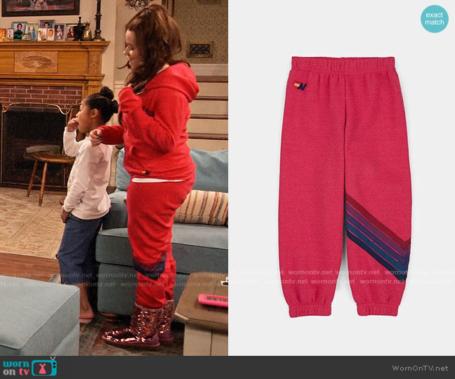 Aviator Nation Stripe Sweatpants worn by Jade (Talia Jackson) on Family Reunion