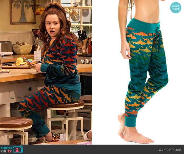 Aviator Nation Velvet Shark Sweatpants worn by Jade (Talia Jackson) on Family Reunion
