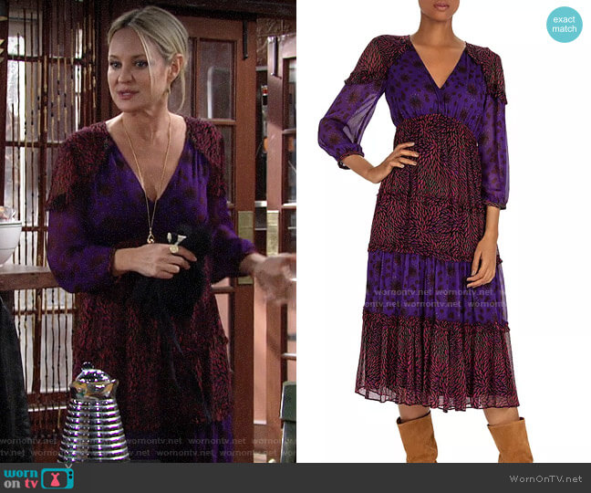 ba&sh Gypsie Mixed-Print Midi Dress worn by Sharon Collins (Sharon Case) on The Young & the Restless