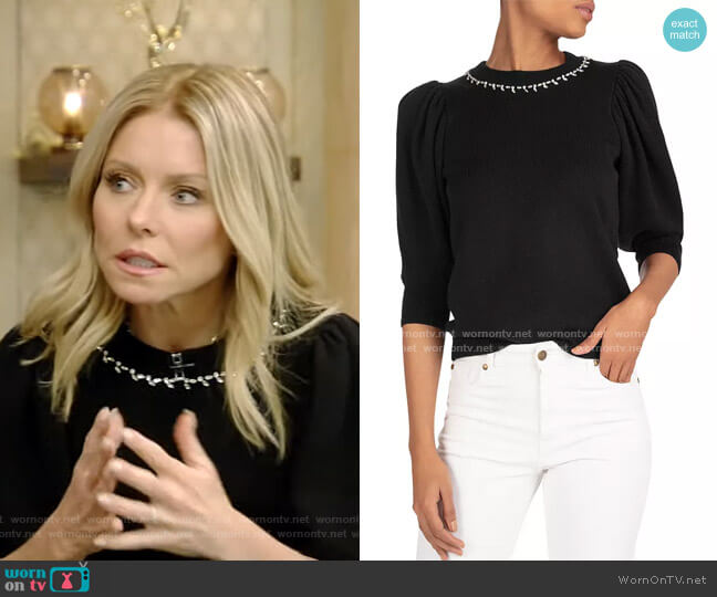 Nea Puff-Sleeve Sweater by Ba&Sh worn by Kelly Ripa  on Live with Kelly & Ryan