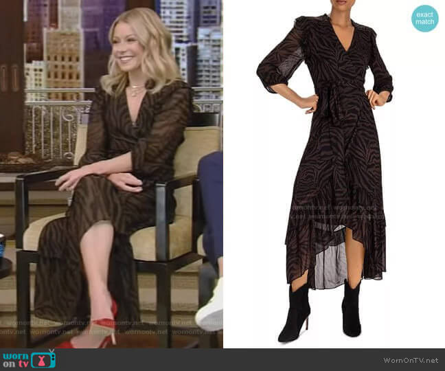 Selena Zebra-Stripe Wrap Dress by Ba&Sh worn by Kelly Ripa  on Live with Kelly & Ryan