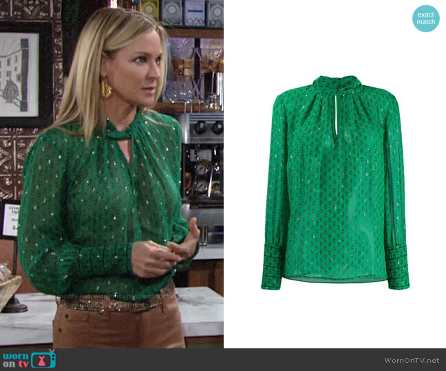 ba&sh Cabri Blouse worn by Sharon Collins (Sharon Case) on The Young & the Restless