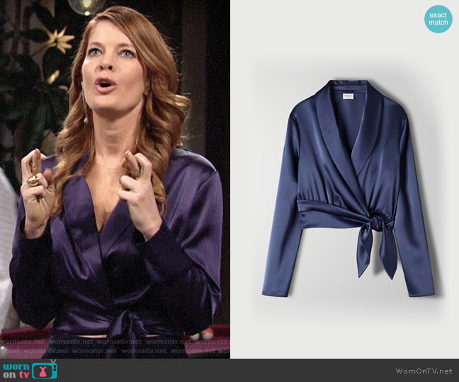 Aritzia Babaton Davis Blouse worn by Phyllis Summers (Michelle Stafford) on The Young & the Restless
