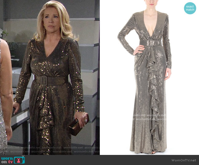 Badgley Mishka Runway Sequin V Neck Ruffle Gown worn by Nikki Reed Newman (Melody Thomas-Scott) on The Young & the Restless