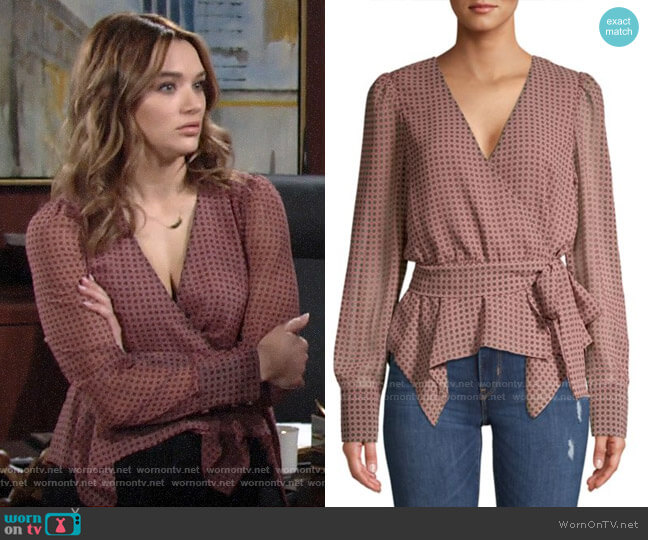 Bailey 44 Geometric-Print Wrap Top worn by Summer Newman (Hunter King) on The Young & the Restless