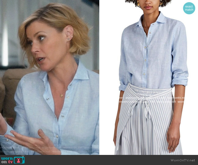 Barneys New York Slub Linen Western Shirt worn by Claire Dunphy (Julie Bowen) on Modern Family