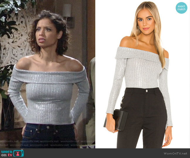 Bcbgeneration Off The Shoulder Knit Top worn by Elena Dawson (Brytni Sarpy) on The Young & the Restless