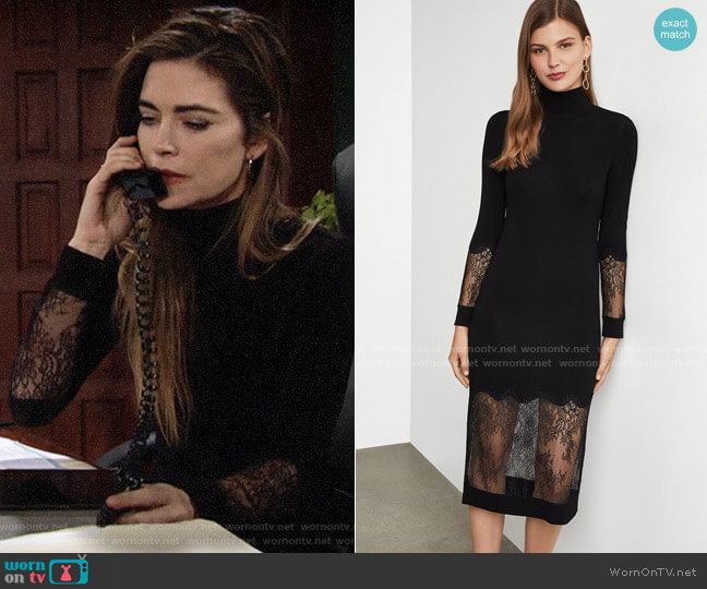 Bcbgmaxazria Lace-Trimmed Sheath Dress worn by Victoria Newman (Amelia Heinle) on The Young & the Restless