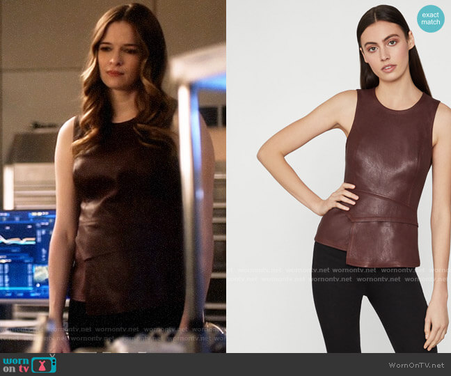 Bcbgmaxazria Tori Faux Leather Peplum Top worn by Caitlin Snow (Danielle Panabaker) on The Flash