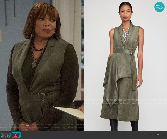 Bcbgmaxazria Faux Suede Drape Front Long Vest worn by Carol on Last Man Standing