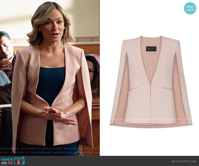 Bcbgmaxazria Upas Cape in Bare Pink worn by Amy Quinn (Lindsey Gort) on All Rise